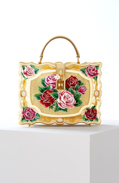 View 1. Thumbnail of Lot 43. Enamel Flower Embellished Limited Edition Box Bag in Golden Hand-Painted Wood with Vintage Plated Brass Hardware, Spring/Summer 2021.