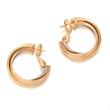 View 3. Thumbnail of Lot 100. CARTIER   PAIR OF THREE- COLOR GOLD EARRINGS   (PAIO DI ORECCHINI IN ORO TRICOLORE) .