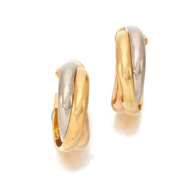 View 2. Thumbnail of Lot 100. CARTIER   PAIR OF THREE- COLOR GOLD EARRINGS   (PAIO DI ORECCHINI IN ORO TRICOLORE) .