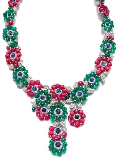 View 1. Thumbnail of Lot 653. Michele della Valle   Gem set and diamond necklace   Michele della Valle   寶石配鑽石項鏈.