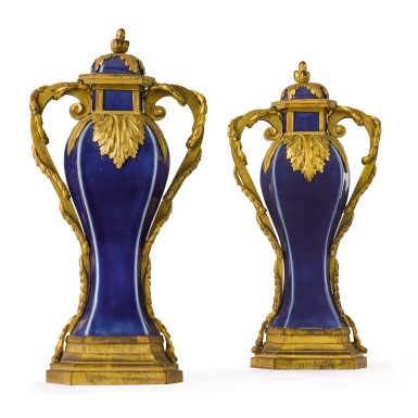 View 1. Thumbnail of Lot 126. A pair of Louis XVI gilt-bronze mounted Chinese blue porcelain baluster vases, the mounts circa 1780, the porcelain Qing dynasty, Qianlong (1736-1795).