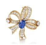 SAPPHIRE AND DIAMOND BROOCH, SCHLUMBERGER FOR TIFFANY & CO.   藍寶石 配 鑽石 別針, Schlumberger for Tiffany & Co.