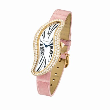 View 2. Thumbnail of Lot 2036. Cartier | Baignoire, Reference 3248, A pink gold and diamond-set wristwatch, Circa 2015 | 卡地亞 | Baignoire 型號3248 粉紅金鑲鑽石腕錶,約2015年製.