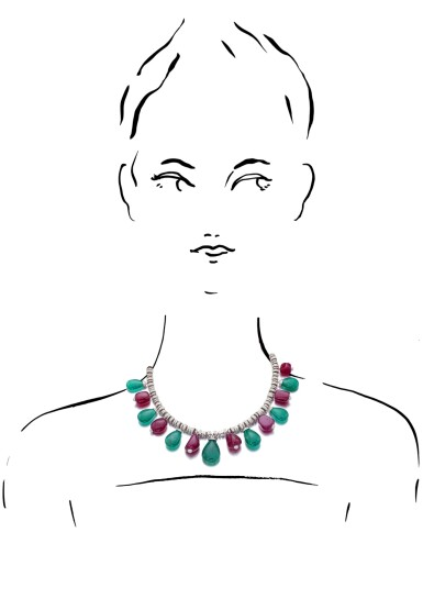 View 4. Thumbnail of Lot 13. MICHELE DELLA VALLE | RUBY, EMERALD AND DIAMOND NECKLACE.