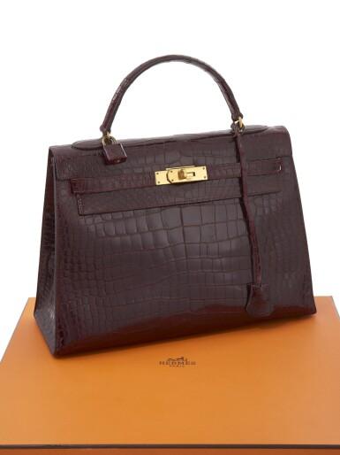 Bordeaux porosus crocodile and gold hardware handbag, Kelly 32, Hermès, 1962