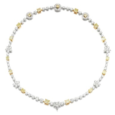 View 2. Thumbnail of Lot 18. Coloured diamond and diamond necklace.