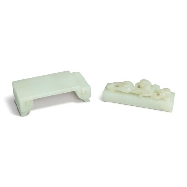 View 2. Thumbnail of Lot 91. Two pale celadon jade scholar's articles, Qing dynasty, 19th century.