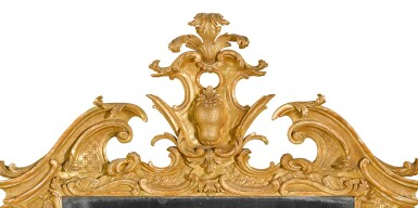 View 3. Thumbnail of Lot 67. A George II carved giltwood wall mirror, probably Irish, mid-18th century.