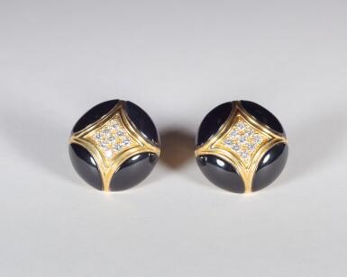 View 1. Thumbnail of Lot 17. Black Onyx and Diamond .