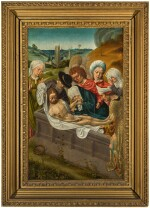 CIRCLE OF DERICK BAEGERT | Recto: Christ shown to the people; Verso: The Virgin and Saint Christopher; Recto: The Entombment; Verso: Saint Anthony Abbot and Saint Anne