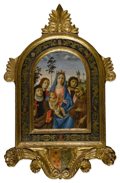 View 2. Thumbnail of Lot 507. Madonna and Child with Saints Clare, John the Evangelist, John the Baptist, and Francis.