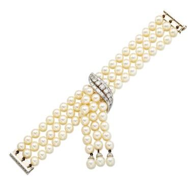 View 3. Thumbnail of Lot 9037. 'Flammes' Cultured Pearl and Diamond Bracelet   梵克雅寶   'Flammes' 養殖珍珠 配 鑽石 手鏈.