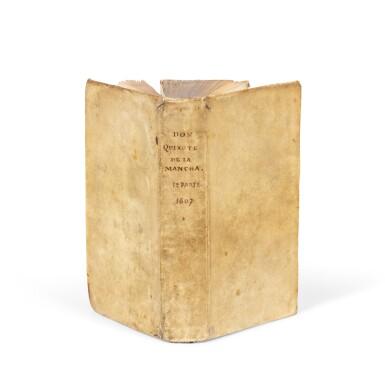 View 1. Thumbnail of Lot 15. El ingenioso hidalgo Don Quixote de la Mancha. Bruxelles, 1607. 1re éd. bruxelloise. Vélin époque.