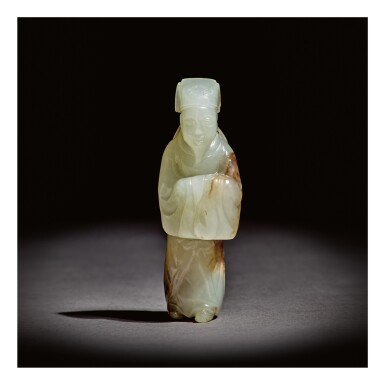 View 1. Thumbnail of Lot 224. A VERY RARE WHITE AND RUSSET JADE 'SCHOLAR' PENDANT,  MING DYNASTY.