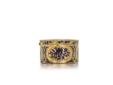 View 2. Thumbnail of Lot 316. A gold and enamel snuff box, probably Hanau, circa 1775.