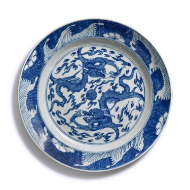 View 2. Thumbnail of Lot 40. A pair of blue and white 'dragon' dishes, Qing dynasty.
