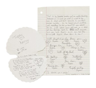View 3. Thumbnail of Lot 89. TUPAC SHAKUR | An archive of 22 love letters from Shakur to a high school sweetheart, 1987-88.