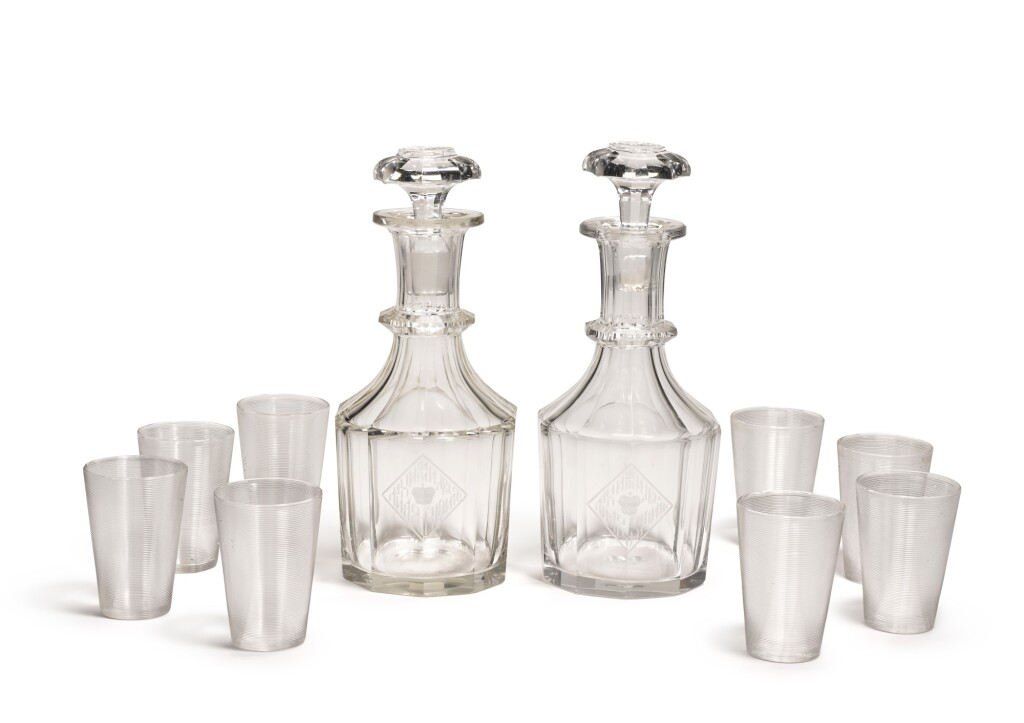 A SET OF TWO GLASS DECANTERS AND EIGHT BEAKERS FROM THE GRAND DUKE MICHAEL MIKHAILOVICH BANQUET SERVICE, IMPERIAL GLASSWORKS, ST PETERSBURG, 19TH CENTURY