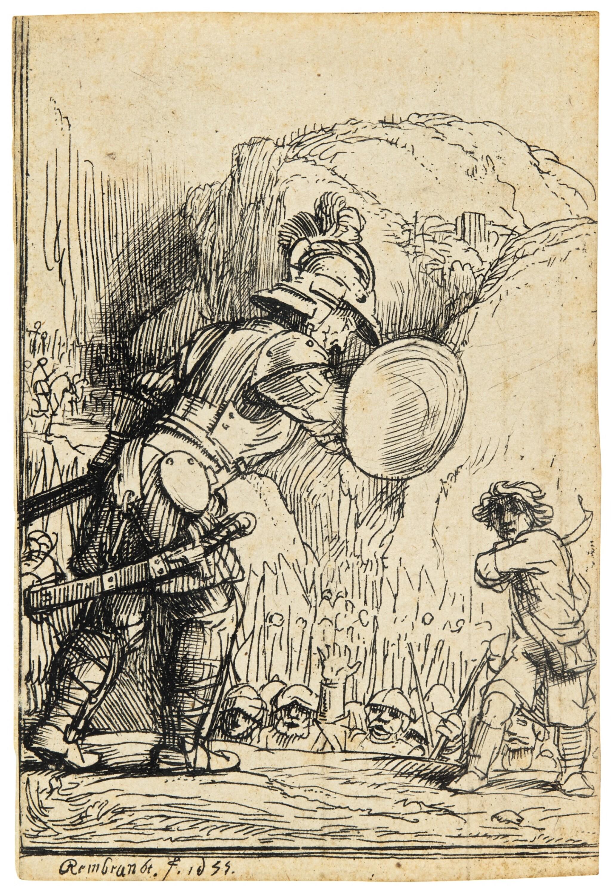 View full screen - View 1 of Lot 59. REMBRANDT HARMENSZ. VAN RIJN  |  DAVID AND GOLIATH (B., HOLL. 36; NEW HOLL. 288C; H. 284).