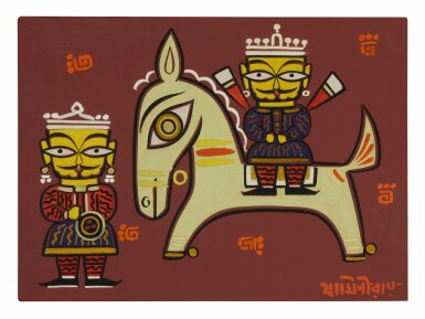 JAMINI ROY | UNTITLED (KING ON A HORSE WITH ATTENDANT)