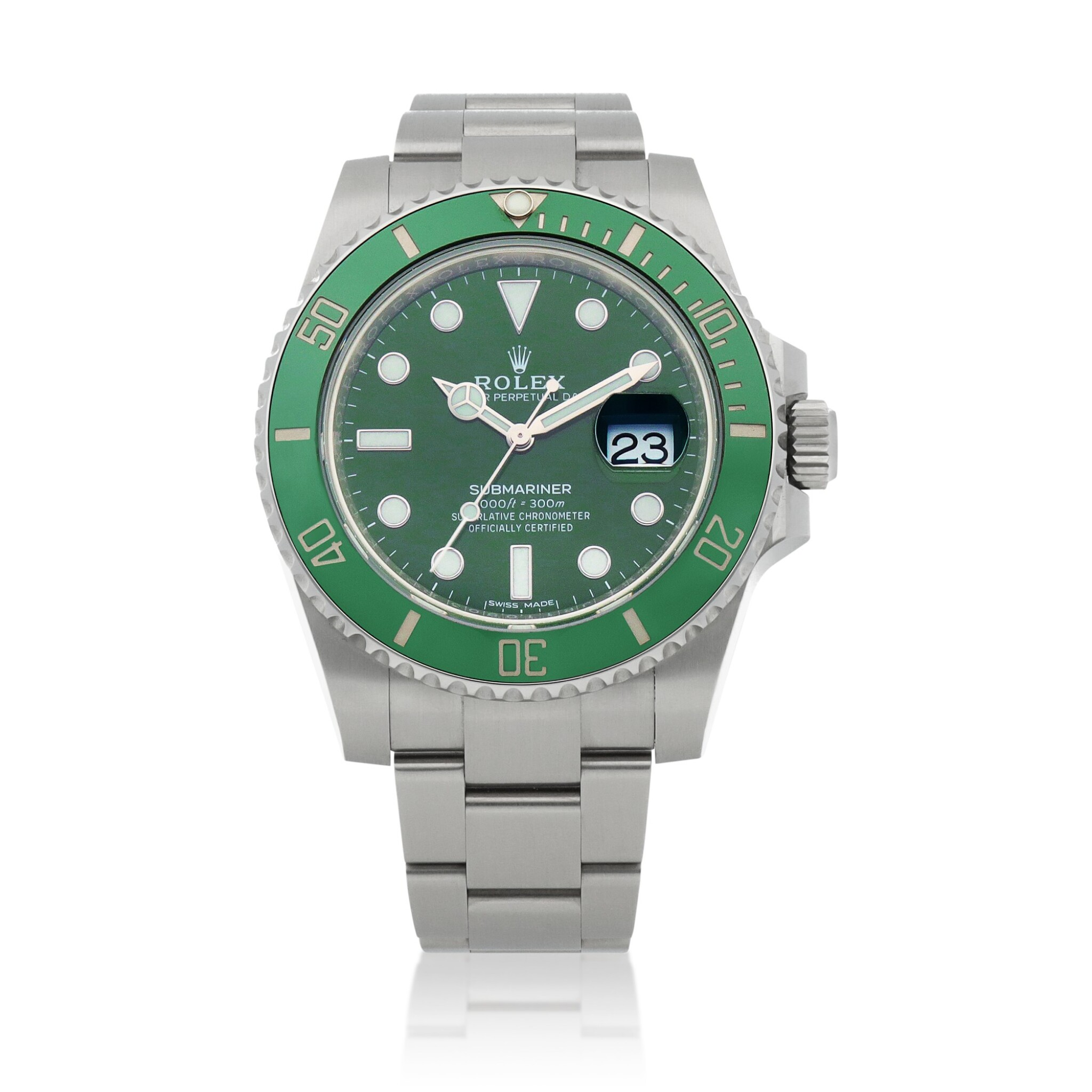 View full screen - View 1 of Lot 6. Retailed by Bucherer: 'Hulk' Submariner, Ref. 116610LV Stainless steel wristwatch with date and bracelet Circa 2020 | 勞力士| 零售商為Bucherer:116610LV型號「'Hulk' Submariner」精鋼鍊帶腕錶備日期顯示,年份約2020.