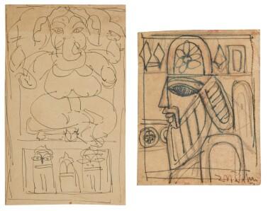 View 1. Thumbnail of Lot 1809. JAMINI ROY | UNTITLED (GANESH); UNTITLED (KINGDOM OF CARDS).