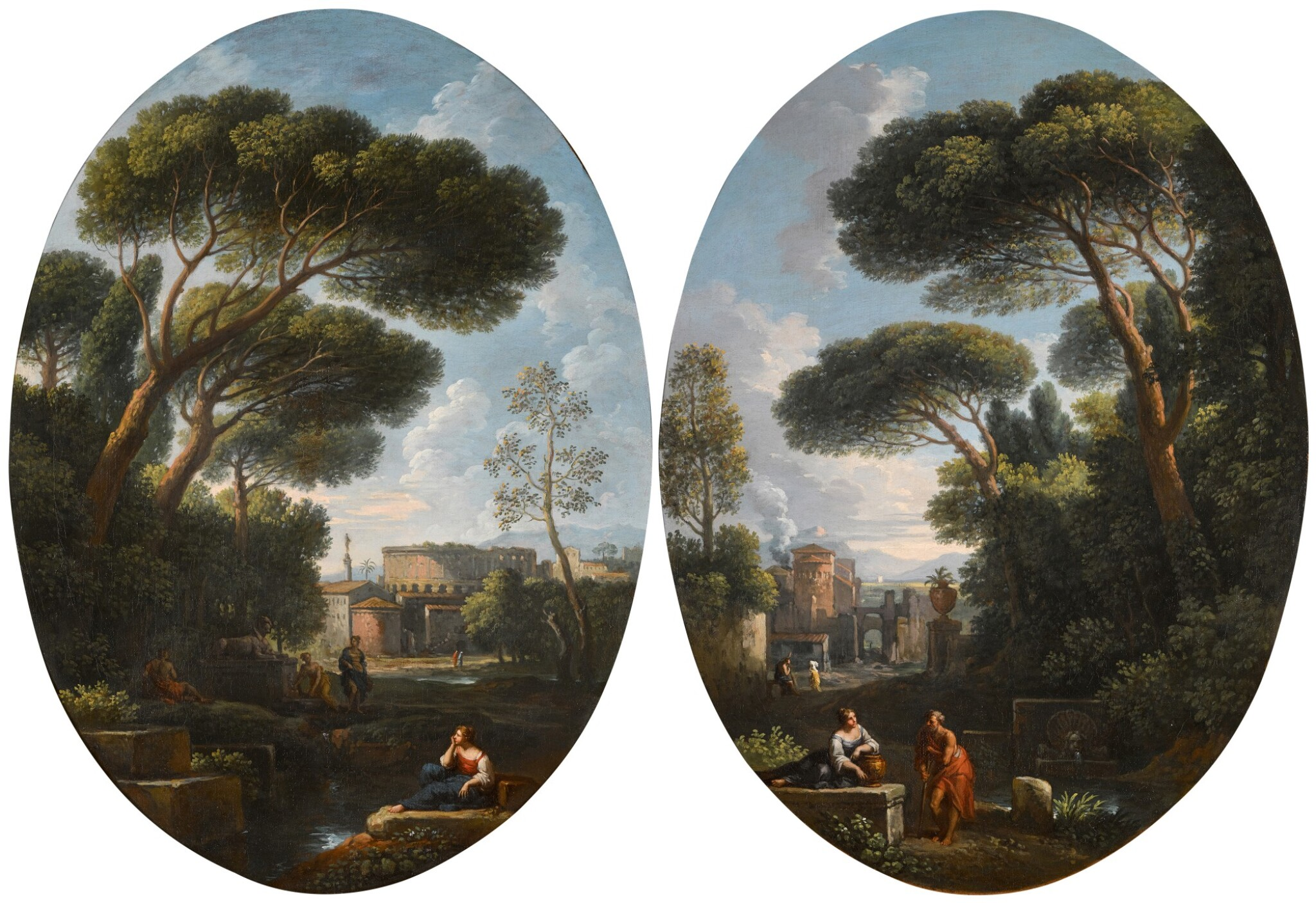 View full screen - View 1 of Lot 64. JAN FRANS VAN BLOEMEN, CALLED ORIZZONTE  |  A PAIR OF CAPRICCI DEPICTING COUNTRY SCENES WITH FIGURES.