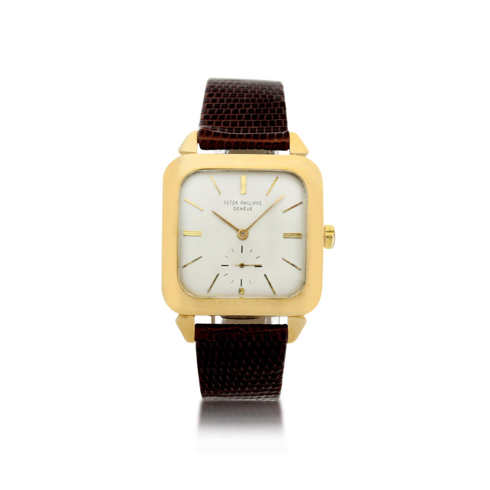 View full screen - View 1 of Lot 143. REFERENCE 2540 A YELLOW GOLD SQUARE AUTOMATIC WRISTWATCH, MADE IN 1957.