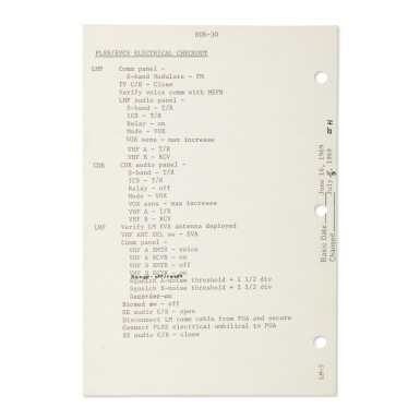 View 2. Thumbnail of Lot 120. [APOLLO 11]. LUNAR SURFACE FLOWN, APOLLO 11 CHECKLIST SHEET USED ON THE LUNAR SURFACE, SIGNED & INSCRIBED BY BUZZ ALDRIN.