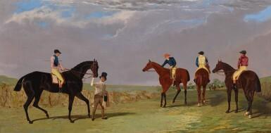 JOHN FREDERICK HERRING SNR.   The Start of the Doncaster Gold Cup, 1825: Lottery, Longwaist, Cedric and Figaro all with jockey up   老約翰・費德里克・海林   《1825年唐卡斯特金盃比賽開幕:洛特里、朗韋斯特、錫德里克、費加洛與賽馬騎師》