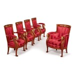 A SUITE OF EMPIRE STYLE GILT BRONZE-MOUNTED MAHOGANY SEAT FURNITURE, 20TH CENTURY