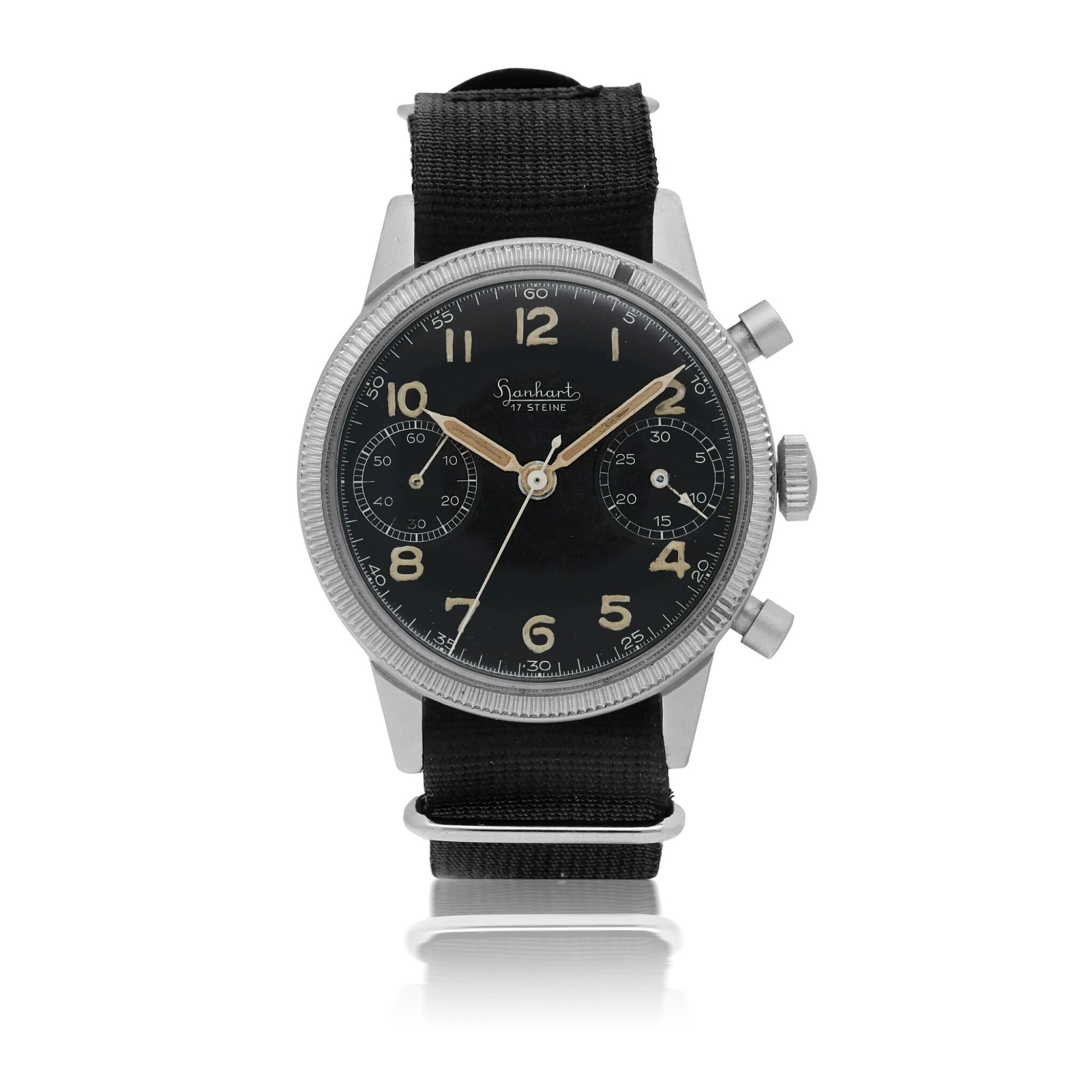 View 1 of Lot 24.  HANHART | 'FLIEGER', REF 417 MILITARY NICKEL-PLATED BRASS FLYBACK CHRONOGRAPH WRISTWATCH CIRCA 1955.