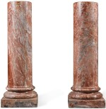 A PAIR OF MOTTLED PINK MARBLE PEDESTALS, PROBABLY ITALIAN, 19TH CENTURY