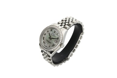 View 3. Thumbnail of Lot 462. ROLEX   REFERENCE 178384 DATEJUST  A STAINLESS STEEL AND DIAMOND-SET AUTOMATIC WRISTWATCH WITH DATE AND BRACELET, CIRCA 2010.