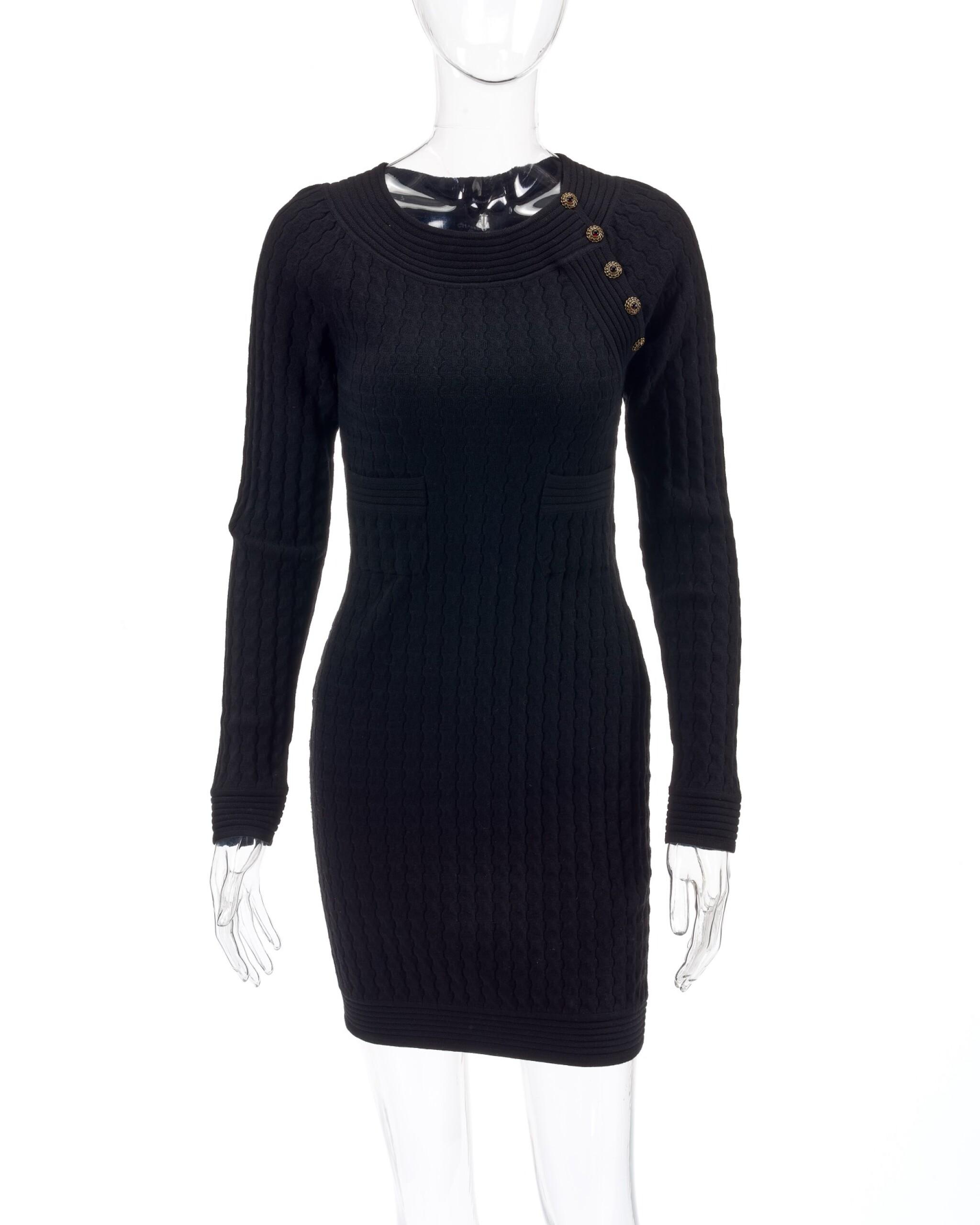 View full screen - View 1 of Lot 157. Black wool-blend mini dress.