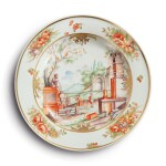 A HAUSMALER-STYLE PLATE THE PORCELAIN POSSIBLY MEISSEN 18TH CENTURY, THE DECORATION LATER