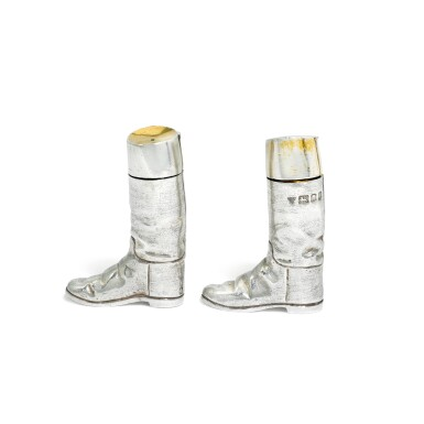 View 3. Thumbnail of Lot 118. A pair of novelty Elizabeth II silver salt and pepper shakers, Garrard & Co. Ltd., London, 1991.