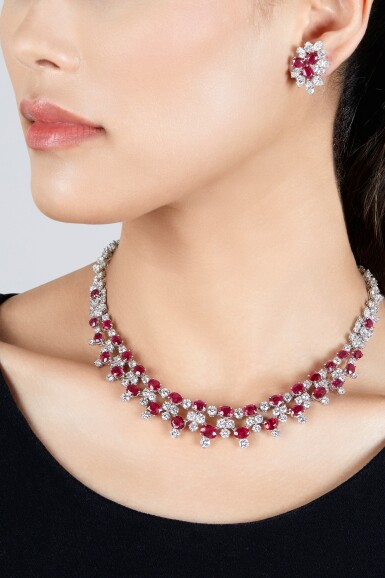View 2. Thumbnail of Lot 202. Harry Winston | Ruby and Diamond Necklace and Pair of Earclips.