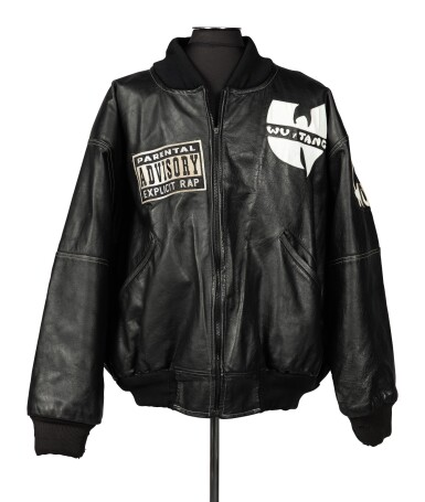 "View 2. Thumbnail of Lot 79.  ""UNCLE"" RALPH MCDANIELS' ORIGINAL LEATHER WU-TANG CLAN PARENTAL ADVISORY JACKET, ca 1993."