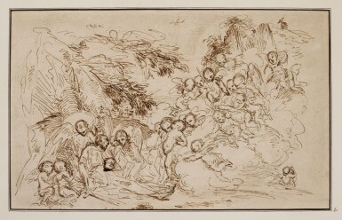FOLLOWER OF PIETRO TESTA | Death of a hermit saint surrounded by putti