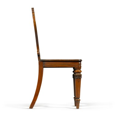 View 6. Thumbnail of Lot 71. A set of six George IV carved mahogany hall chairs, circa 1822, in the manner of Gillows.