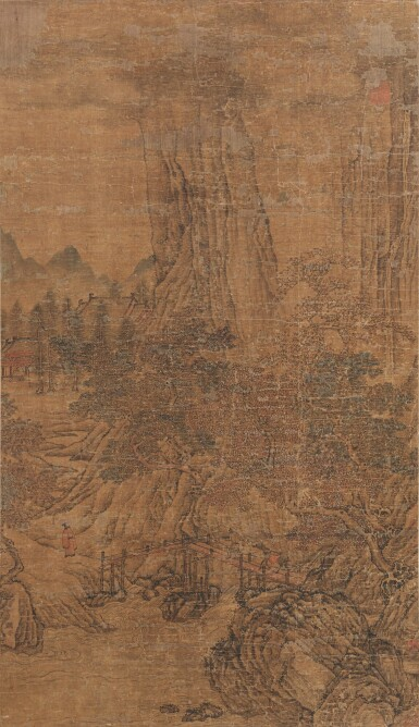View 1. Thumbnail of Lot 66. Anonyme Paysage Dynastie Ming, XVE-XVIE siècle | 明十五至十六世紀 關仝(款 ) 風景人物圖 | Landscape, ink and colour on silk, bearing signature Guan Tong, Ming Dynasty, 15th-16th century.