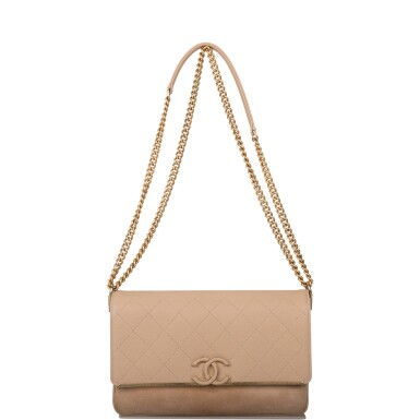 View 5. Thumbnail of Lot 97. CHANEL    BEIGE FLAP BAG OF QUILTED CAVIAR AND SUEDE WITH MATTE GOLD TONE HARDWARE.