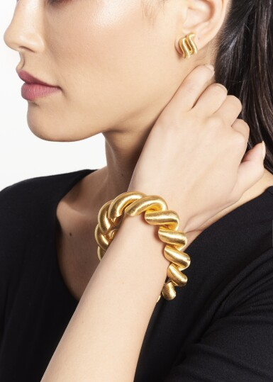 View 4. Thumbnail of Lot 177. Gold Bracelet and Pair of Earclips.
