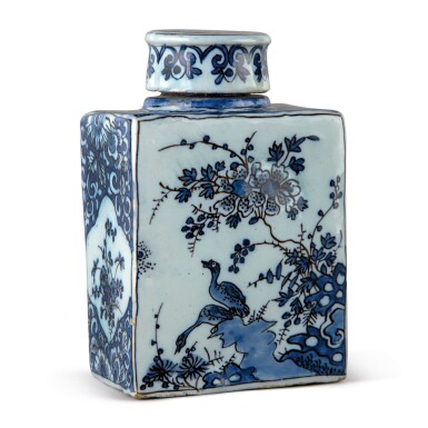 View 1. Thumbnail of Lot 516. A DUTCH DELFT BLUE AND WHITE RECTANGULAR TEA CANISTER AND COVER, CIRCA 1690-1700.