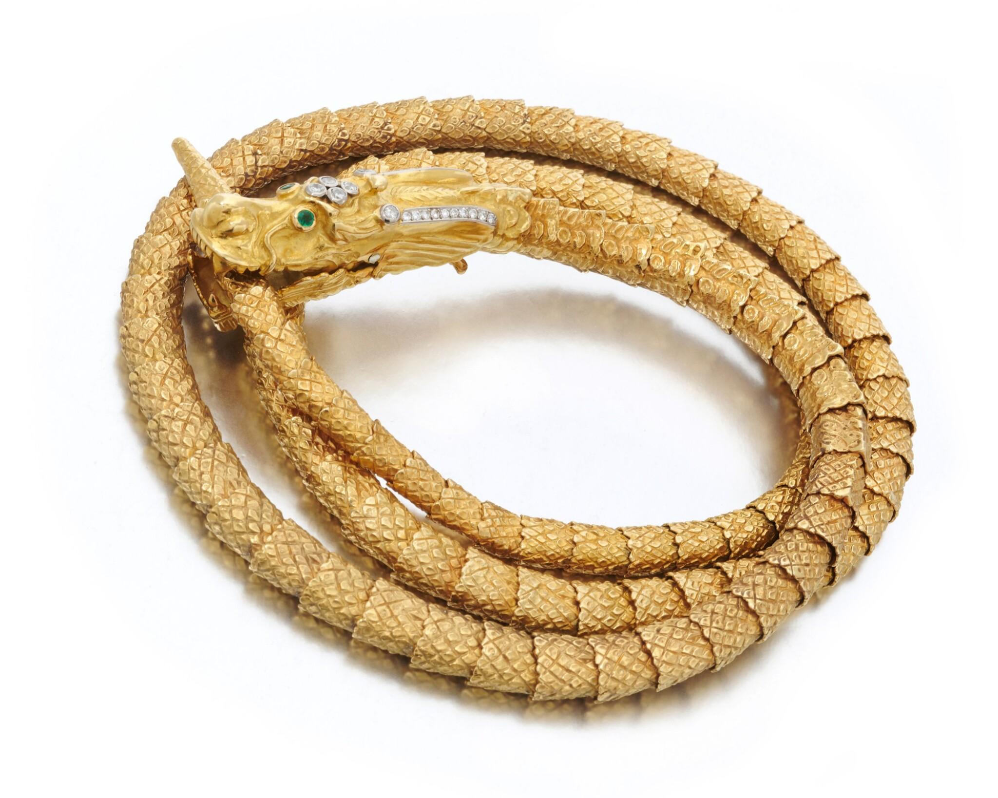 View 1 of Lot 64. Diamond necklace/belt (Collana/cintura con smeraldi e diamanti).