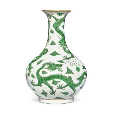 View 3. Thumbnail of Lot 163. A very rare green-enameled 'dragon' bottle vase, Daoguang seal mark and period   清道光 綠彩五龍戲珠紋長頸瓶  《大清道光年製》款.