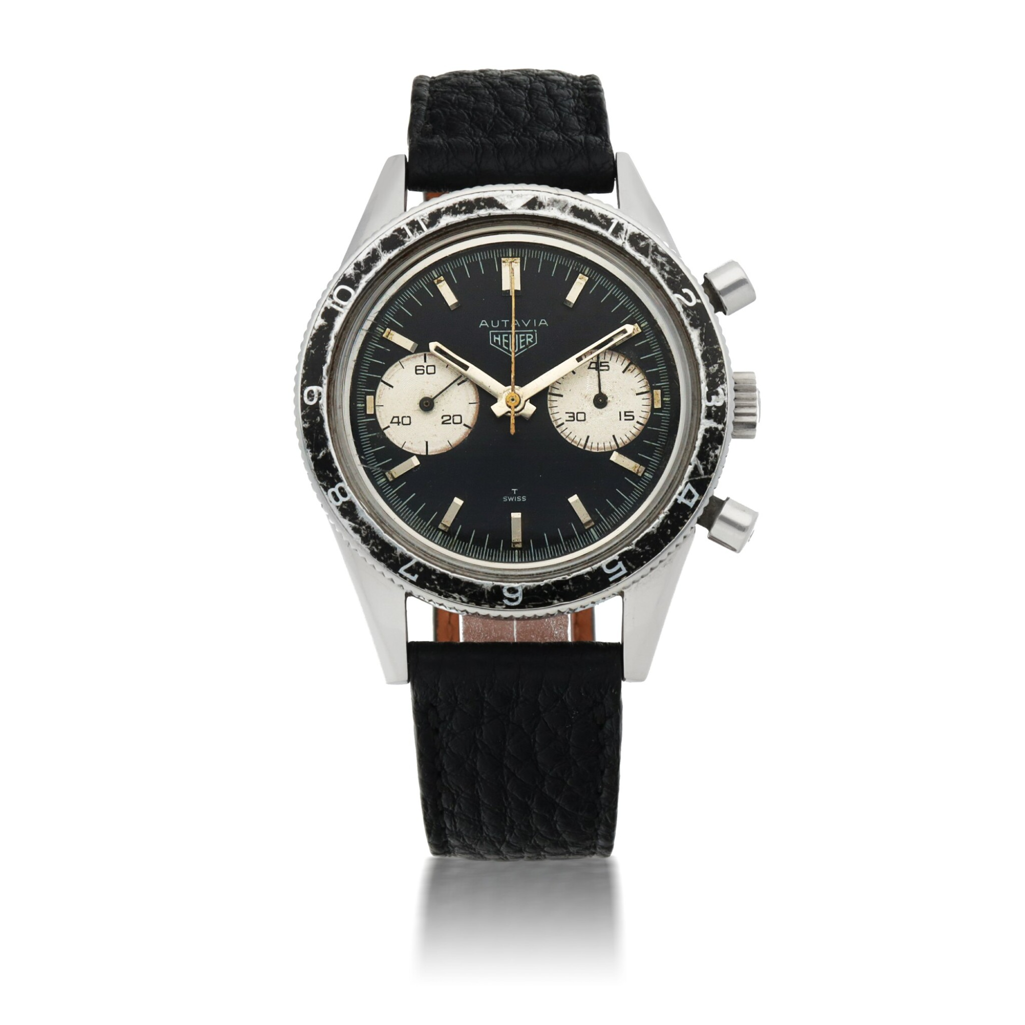 View full screen - View 1 of Lot 1156. HEUER |  'MARIO ANDRETTI' AUTAVIA, REF 3646   STAINLESS STEEL CHRONOGRAPH WRISTWATCH MADE FOR THE ARGENTINIAN AIR FORCE   CIRCA 1965.