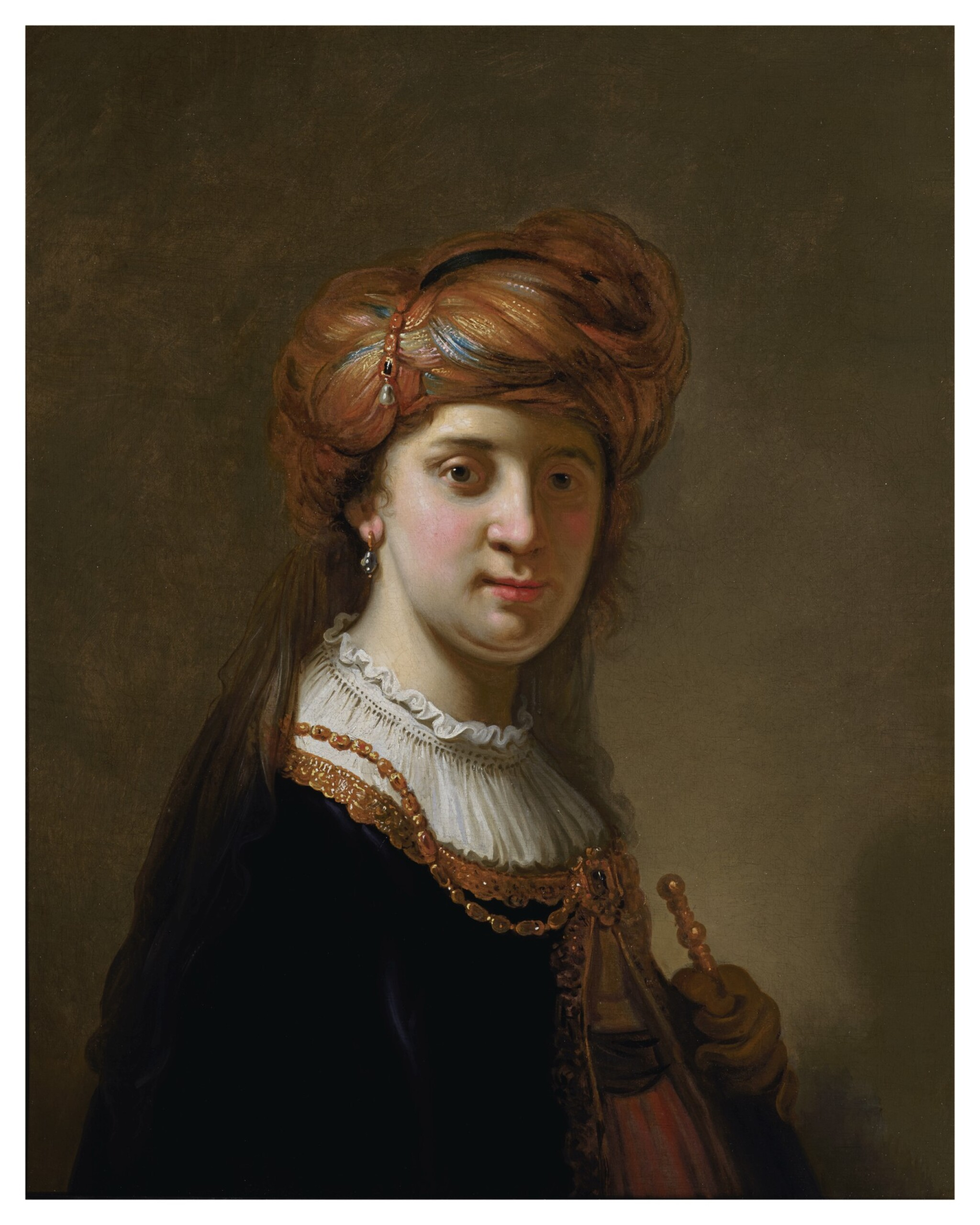 View full screen - View 1 of Lot 124. GOVERT FLINCK  |  PORTRAIT OF A LADY IN A TURBAN, HALF-LENGTH.