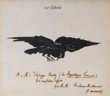 View 1. Thumbnail of Lot 121. Ex-libris lithographié pour Le Corbeau [1875]. Avec envoi à Philippe Burty de Mallarmé et Manet.